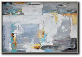 home canvas wall art oversized horizontal contemporary art artwork for white grey yellow etc