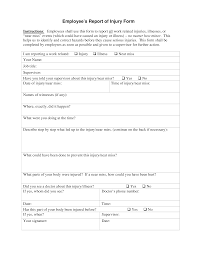 Employee Injury Incident Report Templates At