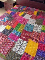 Ikat Silk Handmade Kantha Stitch Patchwork Quilt/throw - Raghav ... & Ikat Silk Handmade Kantha Stitch Patchwork Quilt/Throw Adamdwight.com