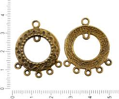 4pcs antique bronze chandelier round earring dangling metal component donut jewelry findings 25mm x 32mm