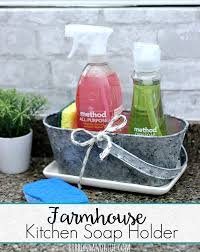 farmhouse kitchen soap holder distressed with a faux galvanized finish cleanmyway teamsponge
