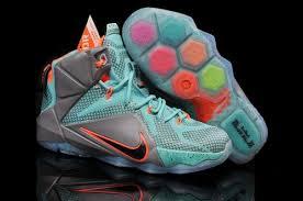 lebron james shoes 12 green. nike teenage lebron james 12 green grey orange shoes