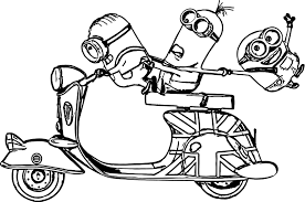 minions scooter bob kevin stuart deable me coloring page