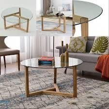 2021 oak round glass coffee table
