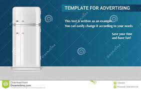 Template With Retro Vintage Fridge For Advertisement Stock Vector