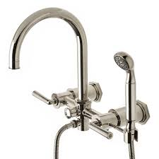 discover henry exposed wall mounted tub filler with handshower and