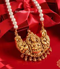Laxmi Pearls Designs Pearl Necklace With Lakshmi Pendant Indian Jewellery Designs