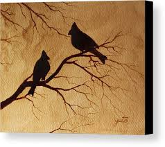 coffee art painting.  Art Cardinals Birds Coffee Art Canvas Print Featuring The Painting  Silhouettes Painting By Georgeta Blanaru On F