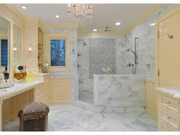 Open Shower Bathroom Bathroom Light Yellow Trim Bathrooms Chandelier Walk In Shower