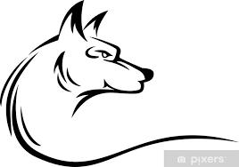 Nálepka Vlk Hlava Tetování Pixerstick