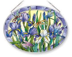 amia stained glass suncatcher 9 x 6 5 oval iris with dragonflies 42551