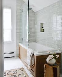 glossy gray tile in bathroom