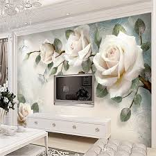 3d european simple hand painted oil painting white rose background wall painting living room tv bedroom sofa background wall wallpaper wallpaper hd wall