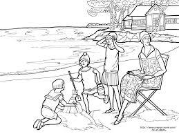 夏の海の塗り絵の下絵画像