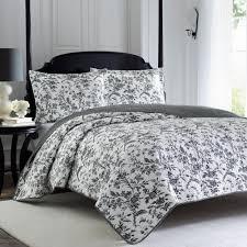 laura ashley amberley 3 piece black white king quilt set