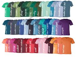 Every Color Digital File Shirt Color Chart Bella And