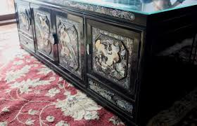 a pair of black lacquer vintage korean mother of pearl abalone inlaid bridal chest we re using them as coffee tables and storage
