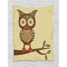 Owl Home Decor Accessories Amazing Owls Home Decor Wall Hanging Tapestry Cute Owl Sitting On Branch
