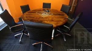 details 72 round reclaimed wood boardroom conference room table hand hewn beam style base reclaimed hemlock threshing floor 2 top premium