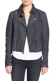 image of paige silvie suede genuine leather moto jacket