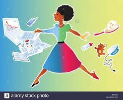 Balancing Work And Family A Woman Balancing Work And Family Stock Vector Art