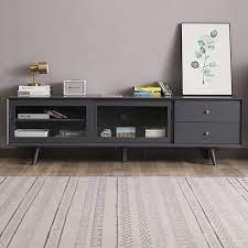 modern gray tv stand rectangle media