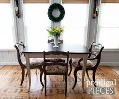 traditional vine dining set with extension table and upholstered chairs by larissa of prodigal pieces