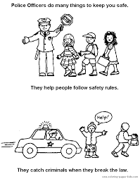 Police Color Page Coloring Pages For Kids Family People And