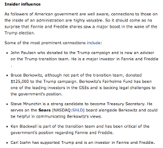 is steve mnuchin the john tower of fannie mae otcmkts  summary