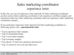 Marketing Coordinator Cover Letter Sales Manager Example Free