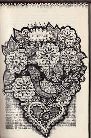 drawings on old book pages 1052x1600 freckles and flowers a bird in hand
