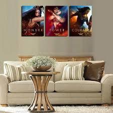 3pcs wonder woman tableau toile home d cor peinture l huile hd