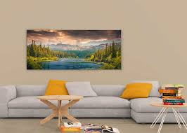 wide picture in living room mockup