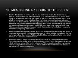"sterling brown ""frankie and johnny"" ""remembering nat turner"" ppt  remembering nat turner three t s"