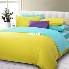 top grade solid color 5pcs duvet cover set queen yellow and blue bed sheet comforter bedding set cotton cs 025 free