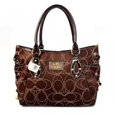Coach String Logo Signature Medium Coffee Totes BTQ
