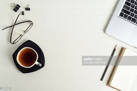 Top office table cup Keyboard Top View Of Office Table With Laptop Keyboard Tea Cup Notepad Pencil Getty Images Top View Of Office Table With Laptop Keyboard Tea Cup Notepad Pencil