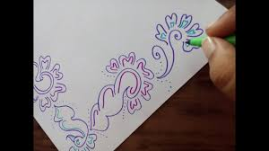 How To Decorate Border Of File Paper Chart Or Cards Simple Border Design