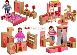 doll house furniture sets. Wood Family Doll Dollhouse Furniture Set, Pink Miniature Bathroom/ Kid Room/ Bedroom/ Kitchen House Decoration Accessories With 4 People Sets F