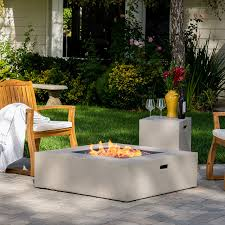 patio with square fire pit. Amazon.com: Hearth 50K BTU Outdoor Gas Fire Pit Table With Tank Holder ( Square, Light Grey): Kitchen \u0026 Dining Patio Square