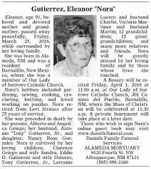 Obituary for Eleanor Gutierrez Eleanor (Aged 91) - Newspapers.com