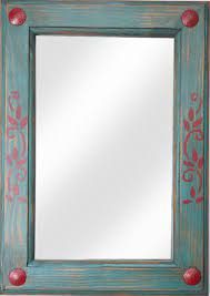 turquoise and red rustic mirror wall