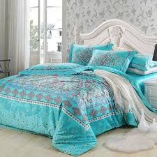 turquoise and red southwestern style unique fl pattern vogue tribal print 100 egyptian cotton full queen size bedding duvet cover sets