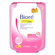remover wipes makeup removing tissue biore cleansing oil in cotton wipes box