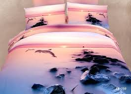 beach scene duvet covers lovely dolphin under sunrise with fog 6 pieces per set luxury bedding