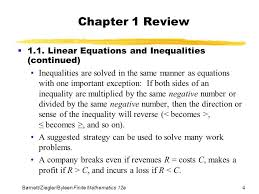 chapter 1 review 1 1 linear equations and inequalities continued