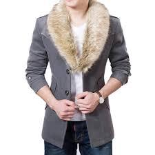2018 whole men trench coat winter warm thick woolen blend overcoat pea coat slim mens faux fur collar wool coat red blue black drop ship from ppkk