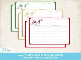 Christmas Recipe Card Christmas 4x6 Printable Recipe Card Set Editable Recipe Card Etsy