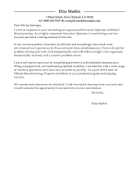 best extrusion operator cover letter