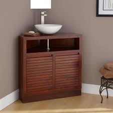 creative handcrafted wooden made corner bathroom vanity with brown towels also tall mirror